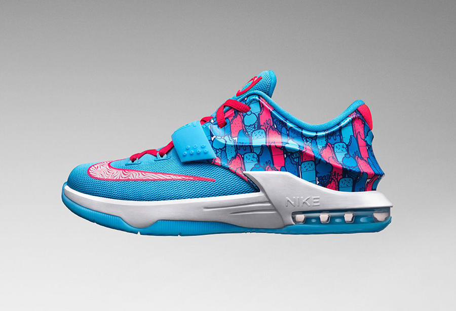 """purchase cheap 3291b fc545 Young Kevin Durant fans are in for a treat this summer with the kids  exclusive Nike KD 7 GS """"Frozens"""" edition. For his last sneaker release, the  Oklahoma ..."""